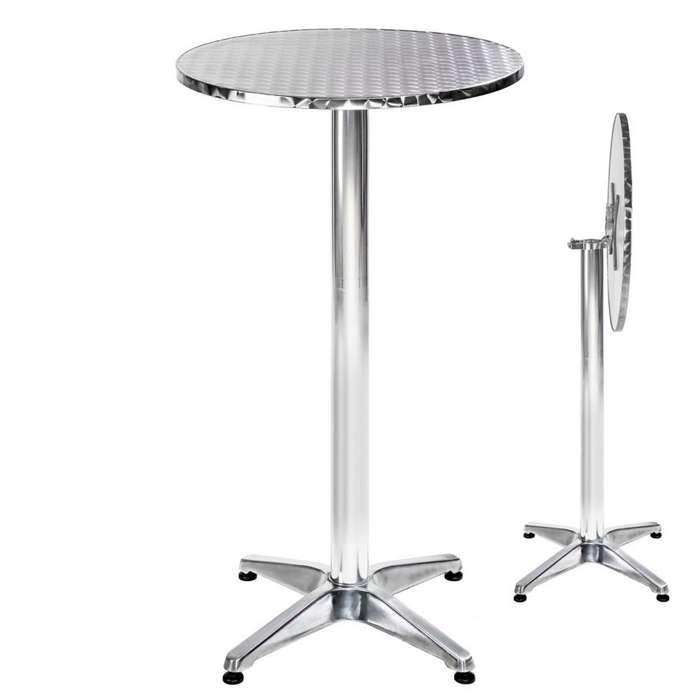 TECTAKE Table Mange Debout en Aluminium pliable Ø 60 cm - Hauteur réglable 74 cm ou 114 cm Ø Pied 6,5 cm