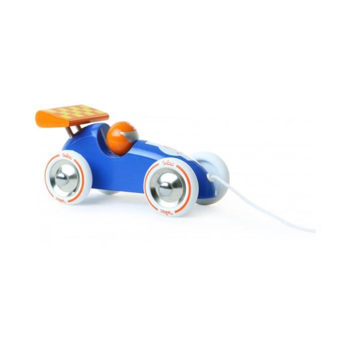 Voiture de course à traîner bleue et orange