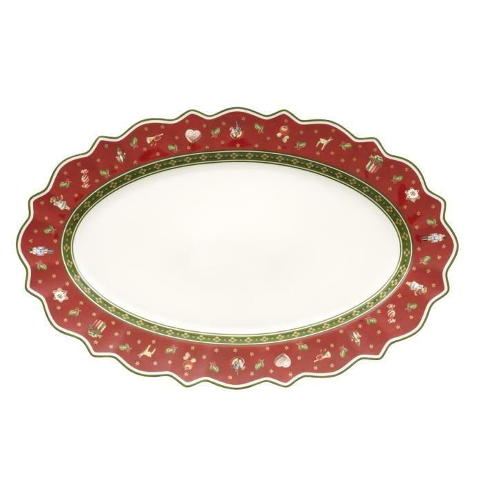 Villeroy & Boch 14-8585-2910 Plat Ovale Toy's delight Arts de la Table de Noël Porcelaine Rouge 50,5 x 32 x 5 cm