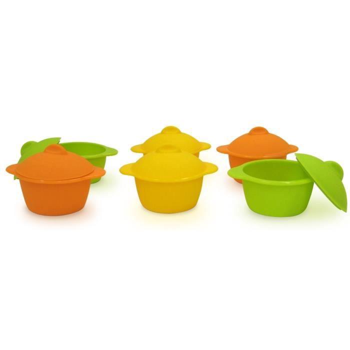 YOKO DESIGN Lot de 6 baby cocottes Ø7 cm orange, jaune et vert