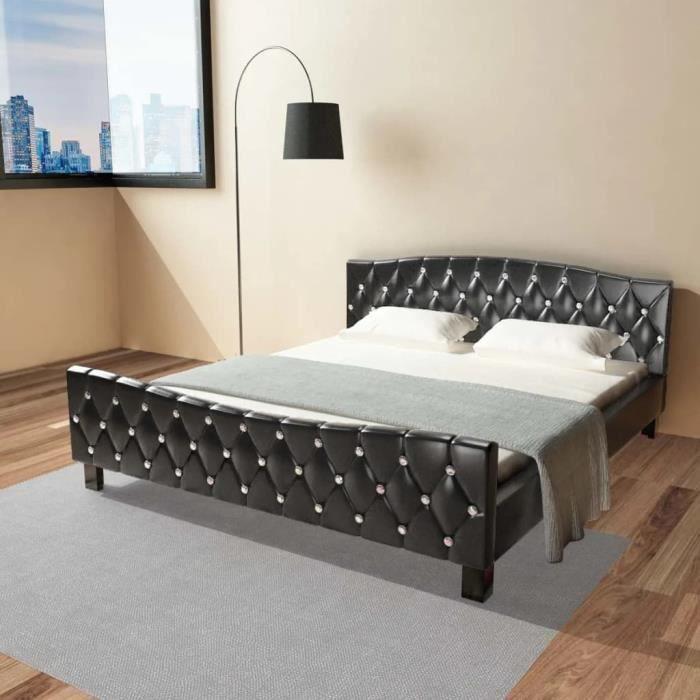 SOMMIER Cadre de lit Noir Similicuir 180 x 200 cm YULINSHO