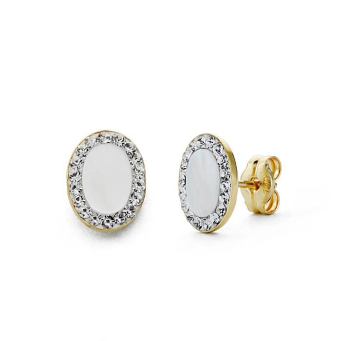 Boucled'oreille or 18k ovale 8mm perle. [AA0336]