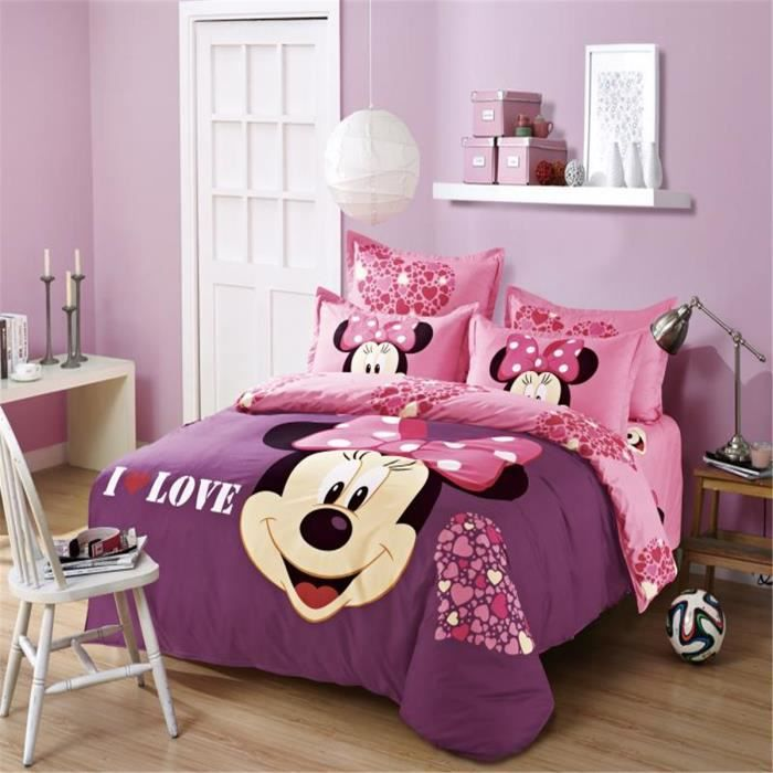 l m minnie mouse enfant parure de couette parure de lit 1 housse de couette 155x 200 cm 1 taie. Black Bedroom Furniture Sets. Home Design Ideas