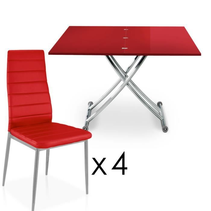 Carrera rouge laqu 4 chaises stratus rouge achat for Table basse rouge laque
