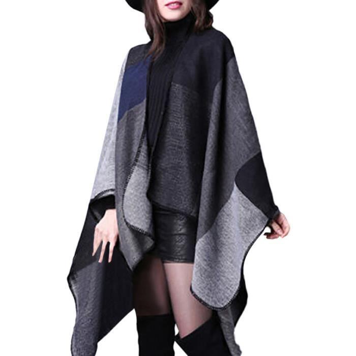 taille 7 valeur formidable gamme de couleurs exceptionnelle Manteaux en tricot de poncho en cachemire d'hiver pour femmes gris  HJ81101012