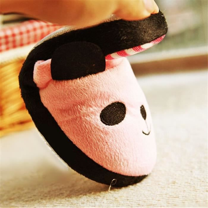 Pantoufles Cartoon Animaux Hiver Chaud Peluche Panda slippers LLT-XZ037Blanc38