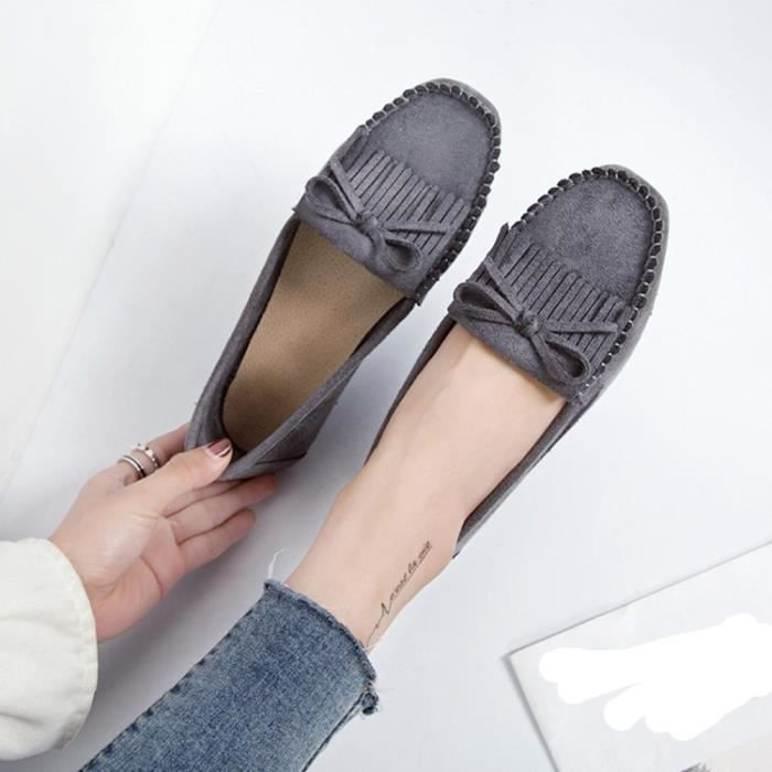 Shoes xz Casual Round slip 6671 Non Lazy on Head Femmes Frige Slip Peas Sole Shoe Gris fzFTq