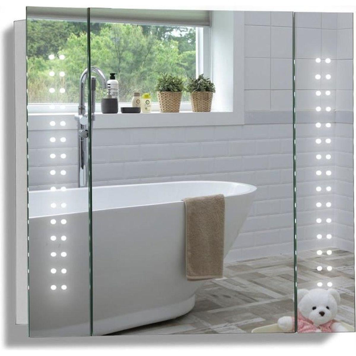 Miroir salle de bain avec eclairage et prise