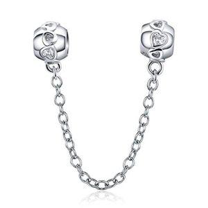 925 Sterling Argent Amour Coeurs Chaîne de sécurité Fit European Charm Bracelet