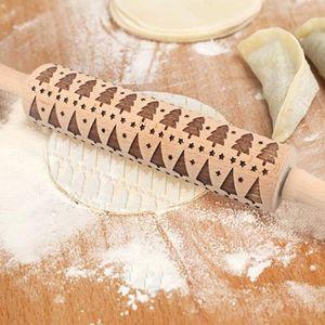Cadeau de Noël hêtre sculpté en relief rouleau à pâtisserie rouleau à pâtisserie
