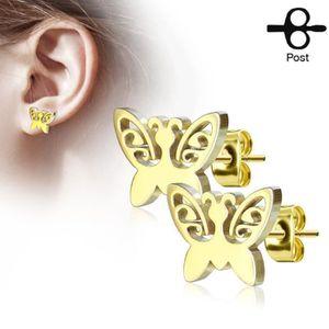 Boucle d'oreille BO clou papillon doré