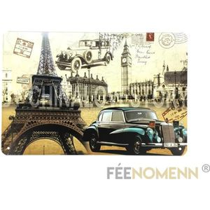 15x30cm Bus Londres Old FEENOMENN Plaque M/étal Immatriculation Vintage