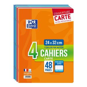 CAHIER OXFORD Lot de 4 cahiers agrafés 48 pages seyès 24