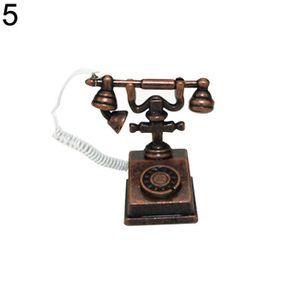 Poupées maison miniature Rotary téléphone en blanc accessoire téléphone