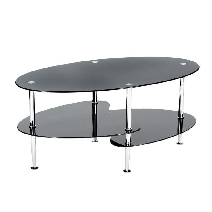 Joko table basse en verre noir 95x50cm achat vente - Table salon verre trempe ...