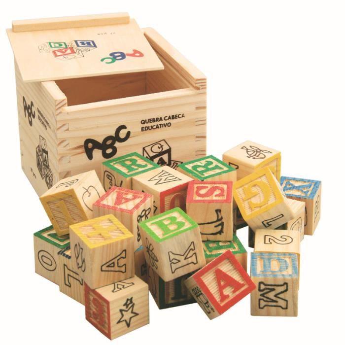 Lot de 27 Pièces Cubes en Bois Alphabet Muméro Jeu de Construction Jouet Éducatif Cadeau Pr Enfant Bébé Mixte