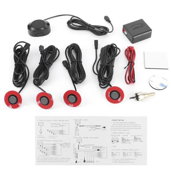 Nouveau Aide à l'inversion de capteur radar de recul intégré de voiture de 16,5 mm avec kit auxiliaire de sonnerie audio (gris)
