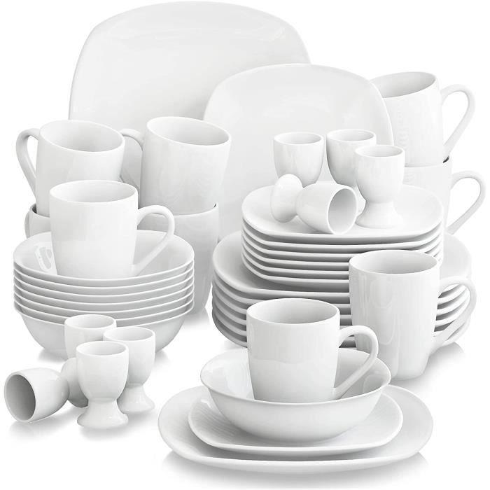 Malacasa Elisa 40pcs Service de Table Porcelaine 8pcs pour Assiette Plate, Assiette à Dessert, Bol à Céréales, Coquetier, Mug