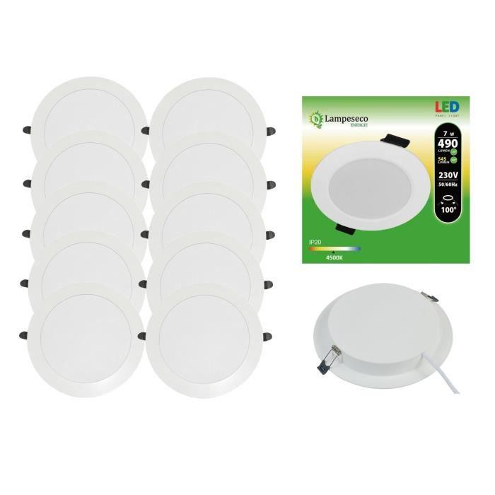 Lot de 10 Spot Encastrable LED Downlight Panel Extra-Plat 7W Blanc Neutre 4200-4500K