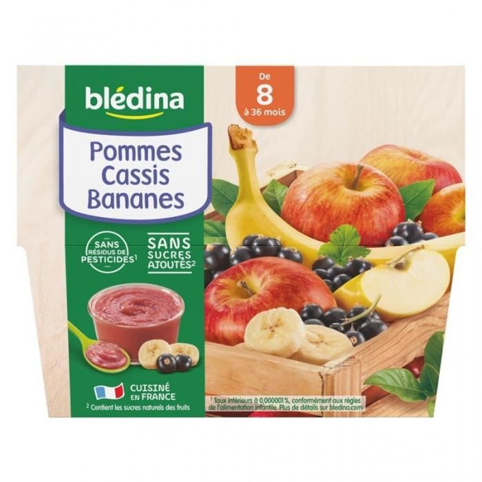 Blédina Pommes Cassis Bananes (de 8 mois à 36 mois) par 4 pots de 100g (lot de 6 soit 24 pots)