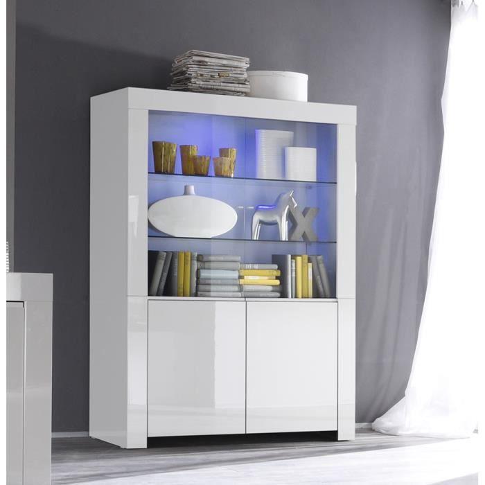 Vaisselier blanc laqué design PAULA Sans L 123 x P 50 x H 170 cm Blanc