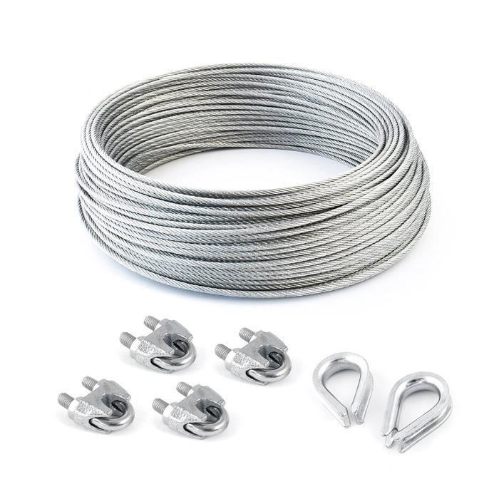 SET 25m câble acier galvanisé 6x37 10mm + 4 serre-câbles étrie et 2 cosse coeur