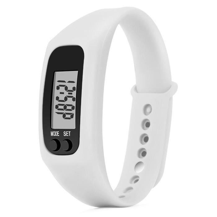 Nouveau podomètre montre électronique Distance de marche compteur calories numérique course kilomètre - Modèle: WHITE - HSJBQA09640