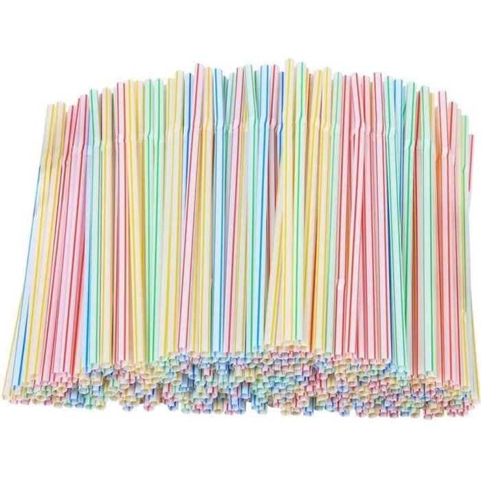 300 Pièces Jetables_Pailles Flexibles en Pailles Pailles Colorées Matériel de Sécurité pour Boire Fêtes Adulte Pailles en Plastique