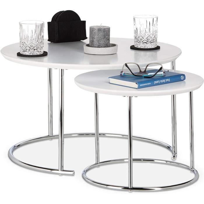 Table Gigogne Set de 2 Table de Salon Petite Ronde Mate, Table Basse Bois Métal Chromé 60x60 cm, Blanc[107]