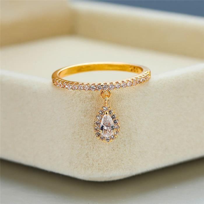 Gold 6 -Bague de luxe en Zircon blanc pour femme, pendentif goutte d'eau, or jaune-blanc-or Rose, cristal rempli, bijoux Boho