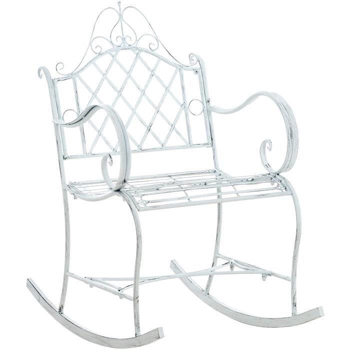 Fauteuil A Bascule Ansan I Chaise A Bascule pour L'Extérieur en Fer Forgé avec Design Antique I Chaise De Jardin avec Accoudoirs Et