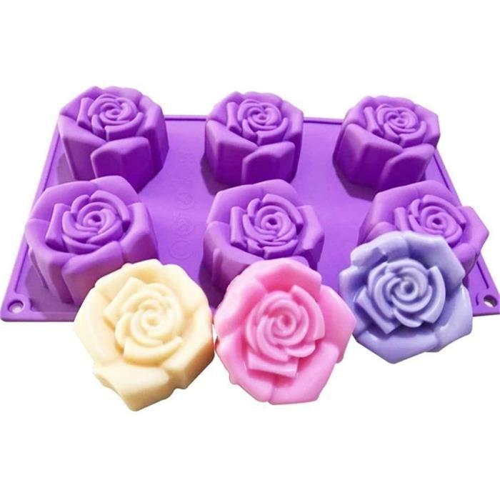 SHEANAON Moule à Gâteau en Silicone Fleurs de Rose Antiadhésifs Moule à pâtisserie en Silicone pour Chocolat Mousse Desserts Muffins