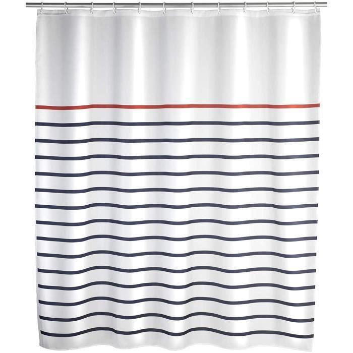 WENKO Rideau de douche Marine blanc - tissu textile haut de gamme, lavable, Polyester, 180 x 200 cm, Multicolore