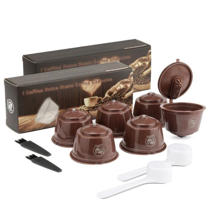 Petit déjeuner - Café,Capsules de café de nescafé Dolce Gusto, réutilisables, filtres, goutteurs, paniers - Type 6pcs Brown Crema