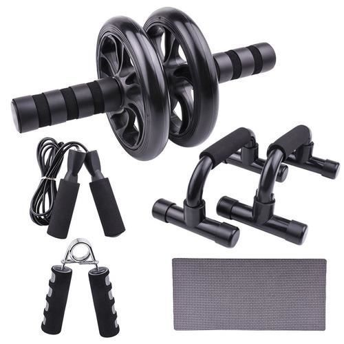 5-en-1 Kit Roue abdominale Support push-up Roue musculaire à roues double multifonction (Noir)