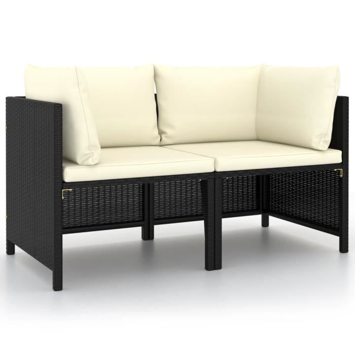 Meuble Déco, Canapé de jardin 2 places - Banquette de jardin - Canapé d'extérieur - avec coussins Noir Résine tressée - 83473