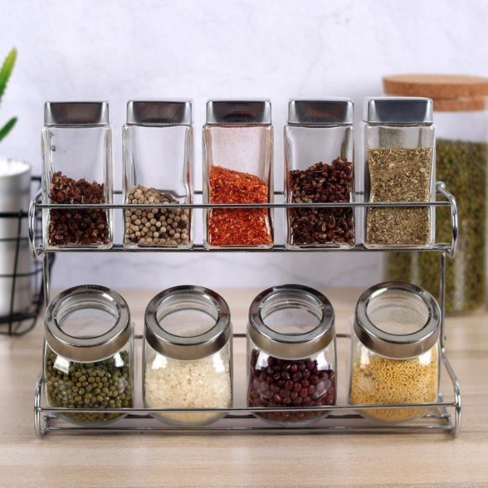 Pot a épices,Ustensiles de cuisine verre Condiment bouteille boîte de réception combinaison réservoir de sel Condiment - Type Suit
