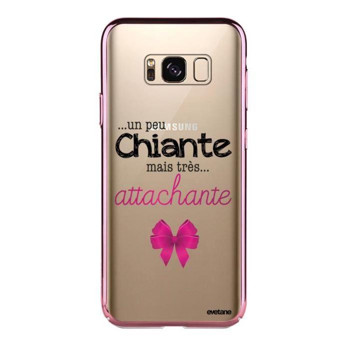 Coque pour Samsung Galaxy S8 bumper rose gold Un peu chiante tres attachante Ecriture Tendance et Design Evetane