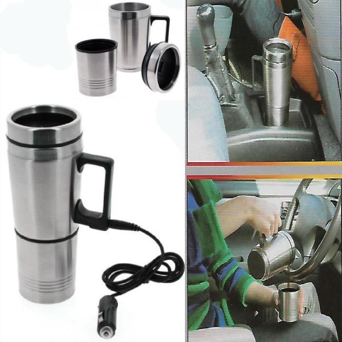 Tasse chauffante de voiture, de voyage GRUNDIG en acier inoxydable de 12V 0.5L Allume Cigare
