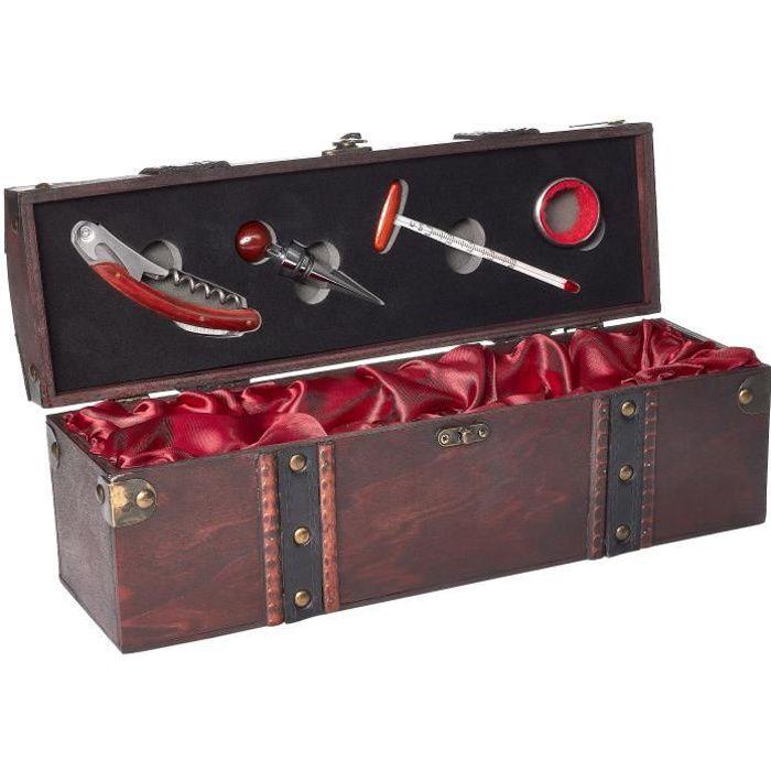 Coffret cadeau avec 1 bouteille de Vin Rouge - Marquis de Lugon 2008 - Coffret en bois - Sommelier (5 pièces)
