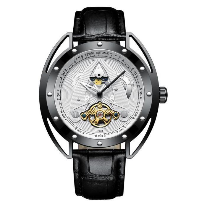 TEVISE dragon doré étanche montres mécaniques automatiques montre en acier inoxydable