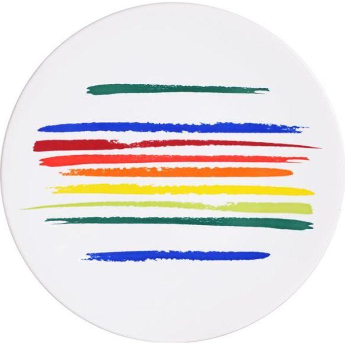 Assiette plate ruban 27.5 cm little marcel (lot de 6) Multicolore
