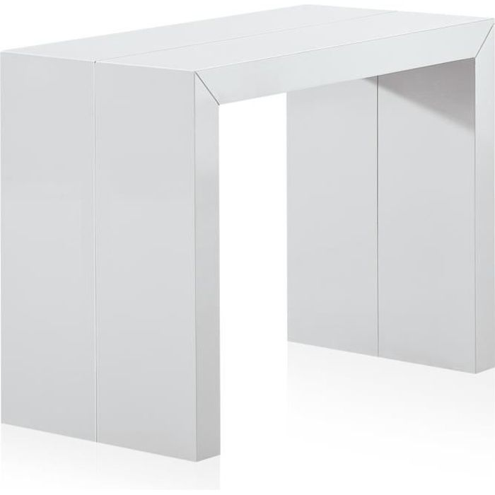 Table Console extensible Nassau L LAQUÉE Blanc