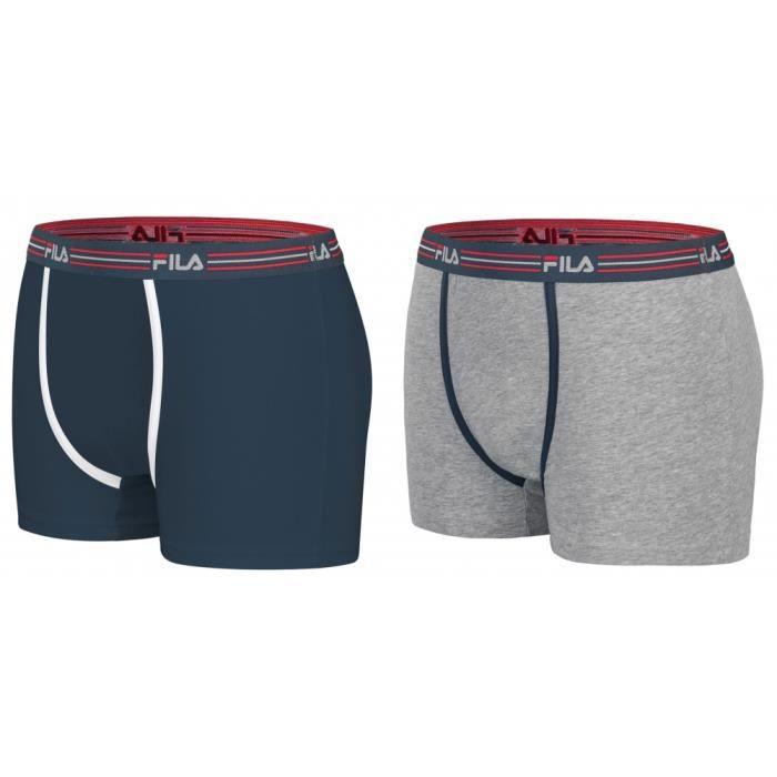 Pack 2 Boxers FILA Bleu Marine et Gris en Coton - Bleu - M