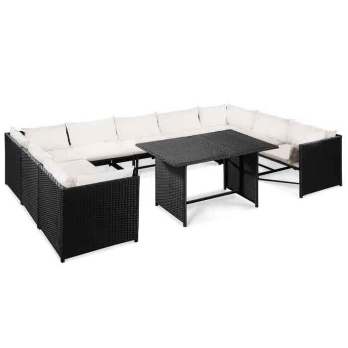 10 pcs Mobilier de jardin :4 canapés d'angle+ 5 canapés de centre+ table de salle à manger avec coussins Résine tressée Noir