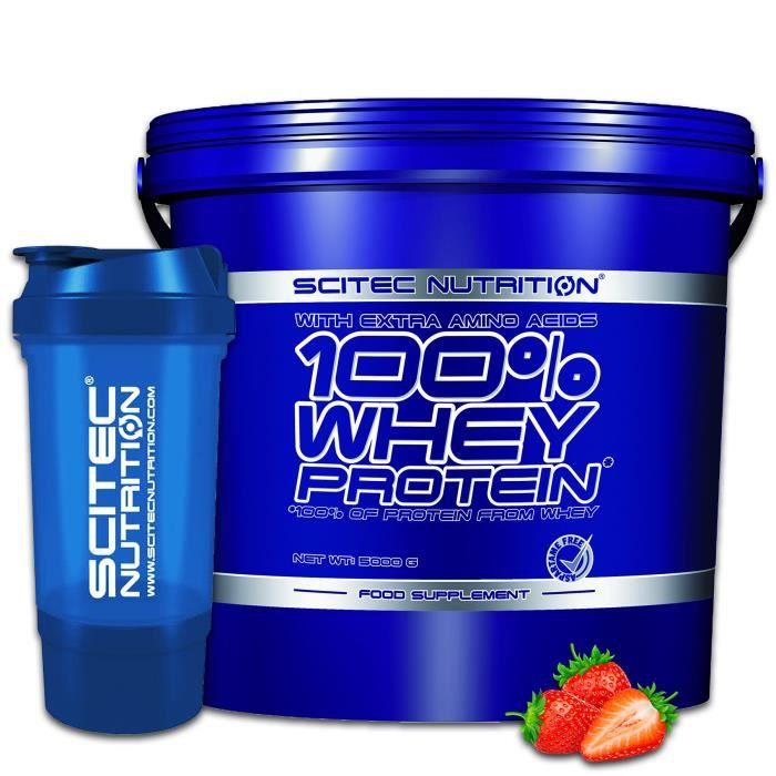 Scitec Whey Protein 5kg Fraise + Shaker