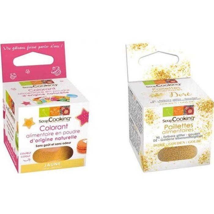Colorant alimentaire naturel jaune + paillettes dorées