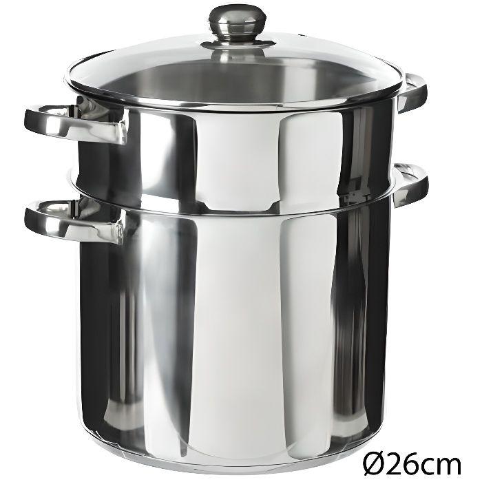Couscoussier en Acier Inoxydable de haute qualité capacité 11 litres D 26 cm
