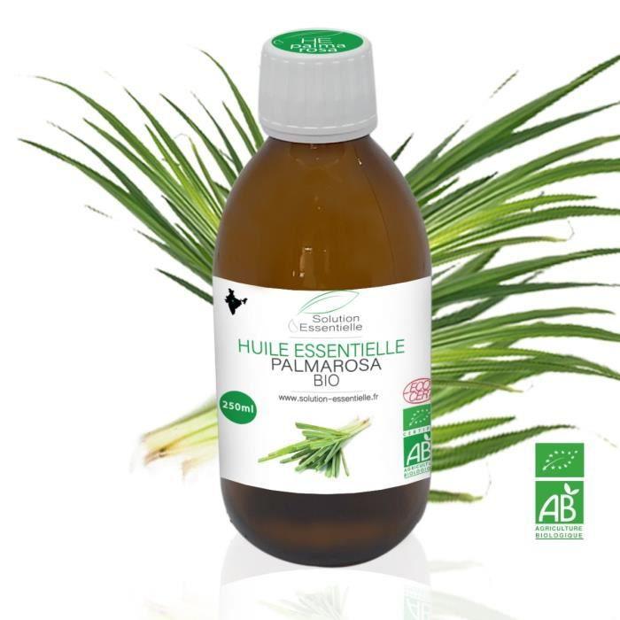 Huile Essentielle BIO de Palmarosa 250 ml. Huile chémotypée ABLabel, Ecocert Bio 100 % Pure et Naturelle ENTREPRISE FRANCAISE