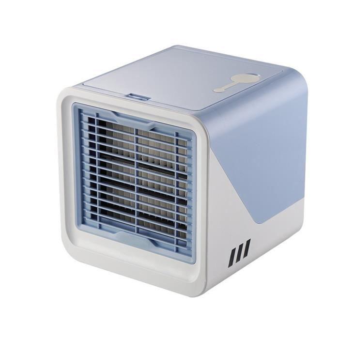 DC 5V USB Mini Climatiseur Portatif Ventilateur climatisation humidificateur Maison Bureau Table Portable LED Lumière -BLEU